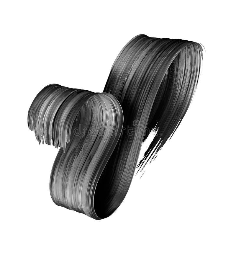 3d представляют, абстрактный черный ход щетки, творческий мазок чернил, текстура краски, волнистая лента, элемент дизайна изолиро стоковая фотография rf