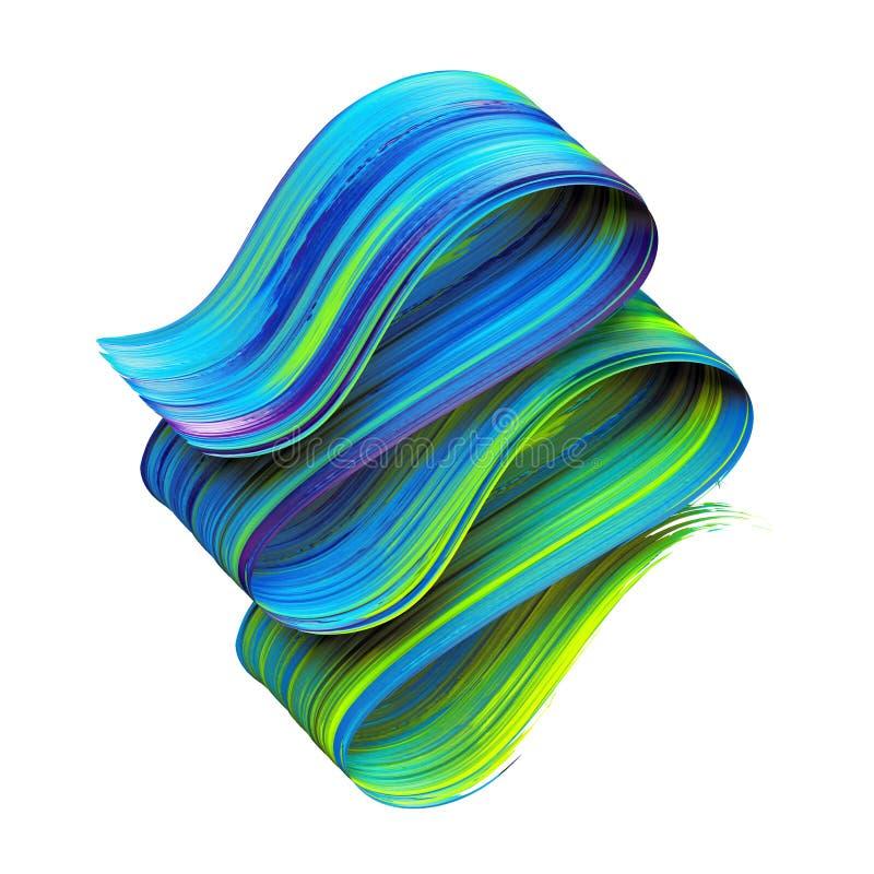 3d представляют, абстрактный художественный ход щетки, изолированный на белой предпосылке, выплеск краски, голубая зеленая лента, иллюстрация вектора