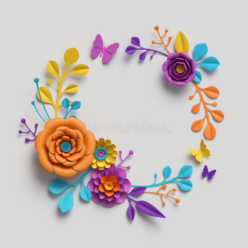 3d представляют, бумажные цветки вокруг рамки, ботанической предпосылки, изолированного искусства зажима, круглого венка, пустого иллюстрация вектора