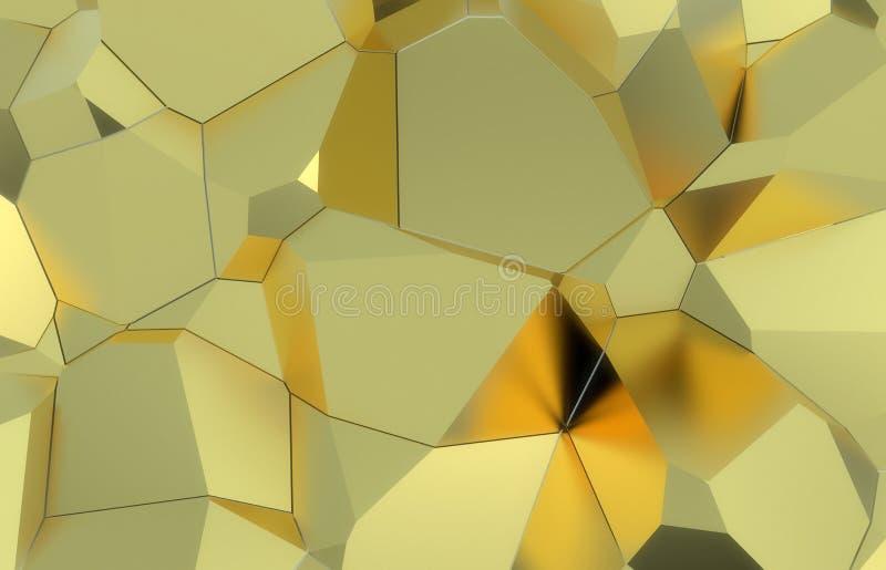 3d представляют, золотая современная разрушенная текстура стены, иллюстрация случайных групп цифровая, абстрактная геометрическая иллюстрация вектора