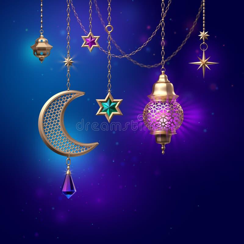 3d представляют, полумесяц звезд фонарика богато украшенный, висящ на золотых цепях, накаляя светлое, арабское традиционное оформ иллюстрация штока
