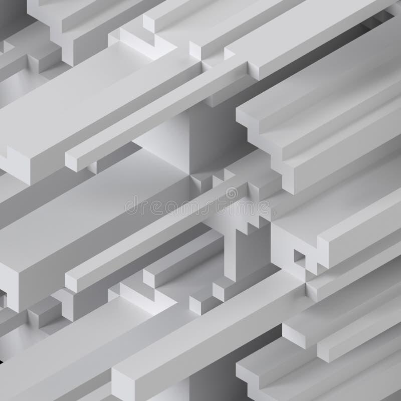 3d представляют, цифровая иллюстрация, белая абстрактная предпосылка, картина voxel, белые планки иллюстрация вектора