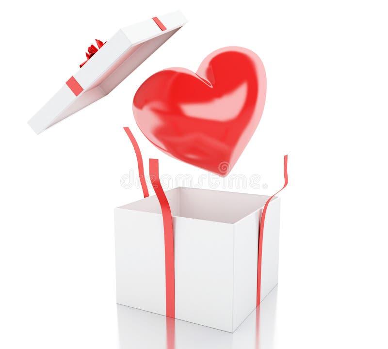 3d öffnen Geschenkbox mit einem Herzen lizenzfreie abbildung