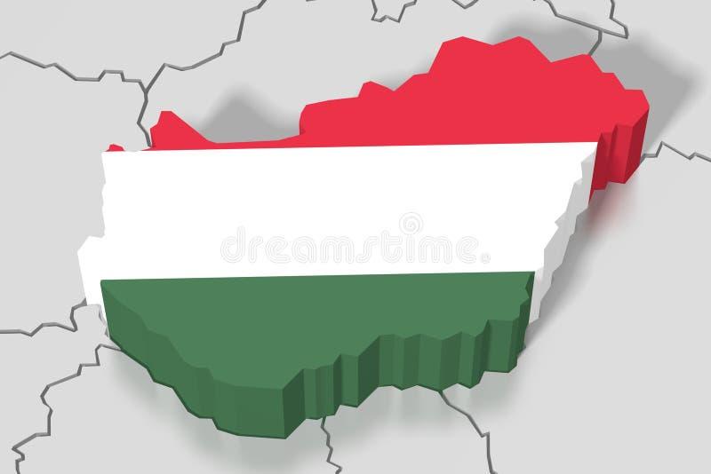 3D översikt, flagga - Ungern stock illustrationer