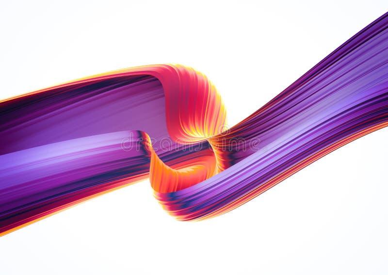 3D übertragen abstrakten Hintergrund Verdrehte Formen der bunten Art 90s in der Bewegung Schillernde digitale Kunst für Plakat, F stock abbildung