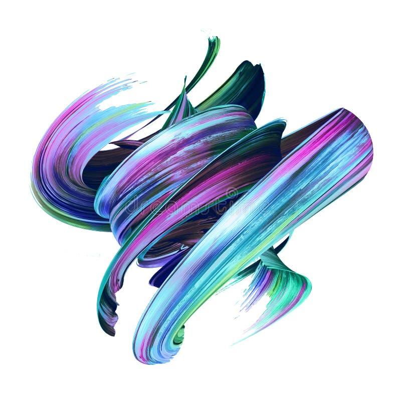 3d übertragen, abstrakter Bürstenanschlag, kreativer Abstrichclipart, Farbenspritzen, Dynamik plätschern, bunte Locke, künstl vektor abbildung