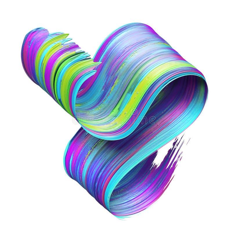 3d übertragen, abstrakter Bürstenanschlag, Neonabstrich, buntes gefaltetes Band, Farbenbeschaffenheit, der künstlerische Clipart, stock abbildung