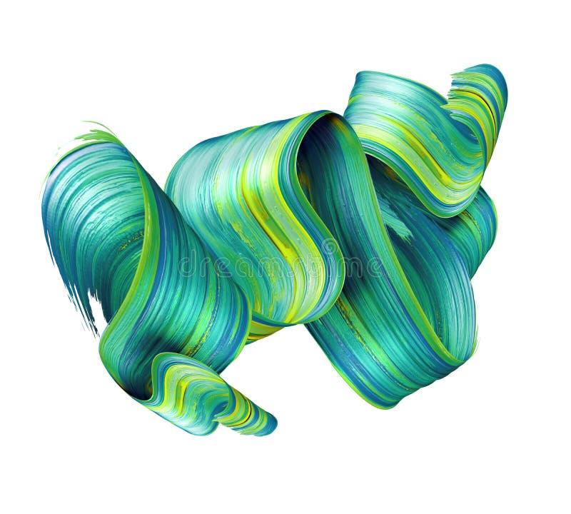 3d übertragen, abstrakter Bürstenanschlag, Neonabstrich, grünes gefaltetes Smaragdband, Farbenbeschaffenheit, der künstlerische C vektor abbildung
