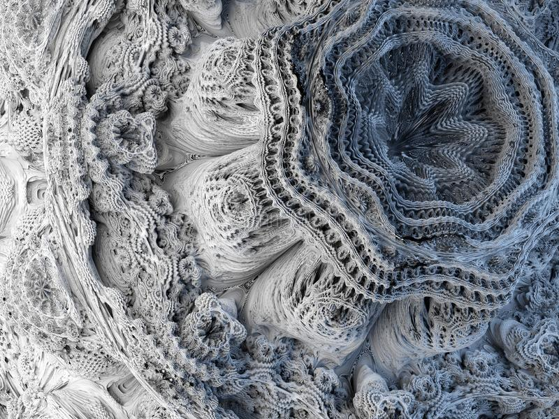 3d übertragen, abstrakter Fractalhintergrund, mikrobiologische Formen, Makronatur, organisches Muster, Quantenwelttapete stock abbildung