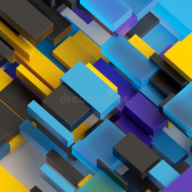 3d übertragen, abstrakter geometrischer Hintergrund, purpurrotes blaues gelbes Schwarzes, bunte Blöcke, Ziegelsteine, Schichten,  lizenzfreie abbildung