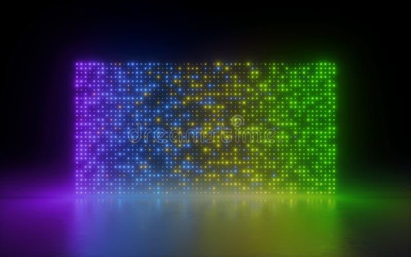 3d übertragen, abstrakter Hintergrund, glühende Punkte, Regenbogenschirmpixel, Neonlichter, virtuelle Realität, Steigungsspektrum lizenzfreie abbildung