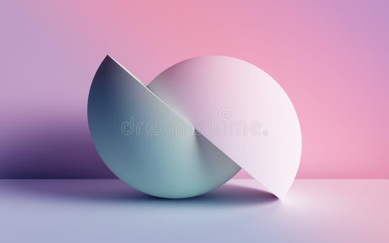 3d übertragen, abstrakter Hintergrund, Pastellursprüngliche geometrische Neonformen, Bälle, einfaches Modell, minimale Gestaltung stock abbildung