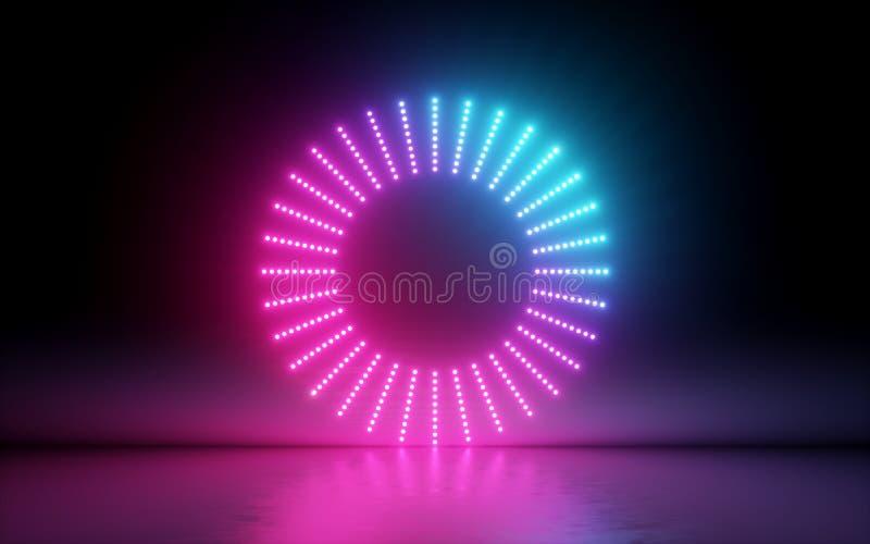 3d übertragen, abstrakter Hintergrund, runder Schirm, Ring, glühende Punkte, Neonlicht, virtuelle Realität, Volumenentzerrerschni vektor abbildung
