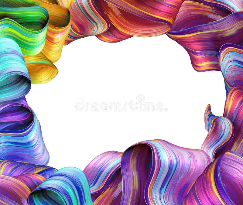 3d übertragen, abstrakter kreativer Modehintergrund, gefaltete bunte Bänder, mehrfarbige Bürstenanschläge, Leerstelle für Text lizenzfreie abbildung
