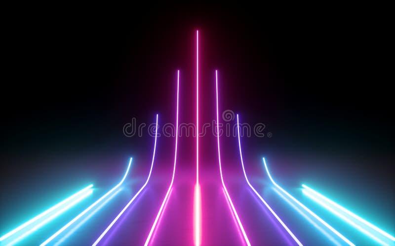 3d übertragen, abstrakter minimaler Hintergrund, die glühenden Linien, die, Pfeil, Cyber, Diagramm, Rosablaue Neonlichter, ultrav vektor abbildung