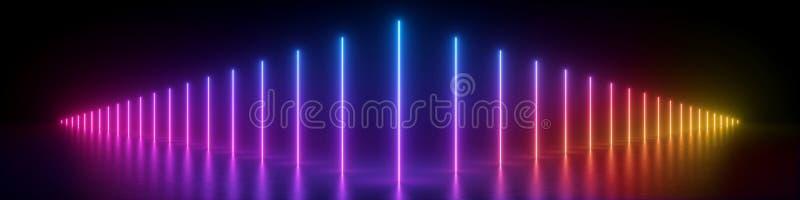 3d übertragen, abstrakter panoramischer Hintergrund, glühende vertikale Linien, Neonlichter, ultraviolettes Spektrum, virtuelle vektor abbildung