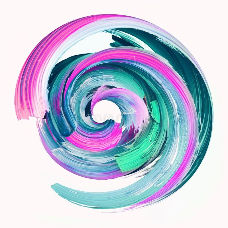 3d übertragen, abstrakter Rundbürsteanschlag, das Farbenspritzen, bunt plätschern Kreis, den künstlerischen klaren gewundenen vektor abbildung