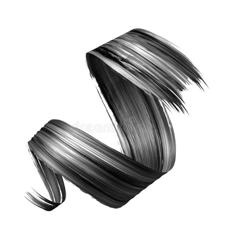 3d übertragen, abstrakter schwarzer Bürstenanschlag, kreativer Tintenabstrich, Farbenbeschaffenheit, Spiralenband, das Gestaltung vektor abbildung