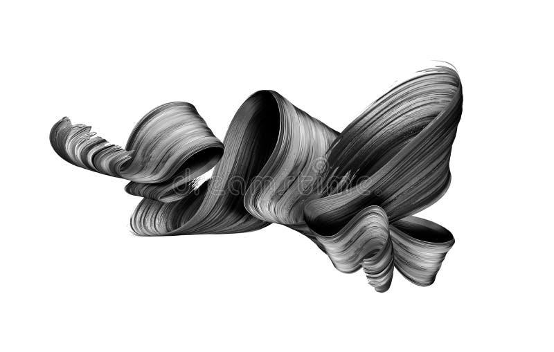 3d übertragen, abstrakter schwarzer Bürstenanschlag, kreativer Tintenabstrich, gefaltetes Band, das Gestaltungselement, das auf w lizenzfreie stockfotografie