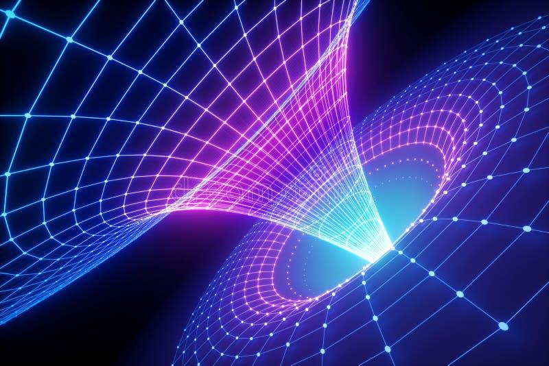 3d übertragen, abstrakter wissenschaftlicher Hintergrund, Trichtergitter, ultraviolettes Spektrum, Eigenheit, Schwerkraft, Angele lizenzfreie abbildung