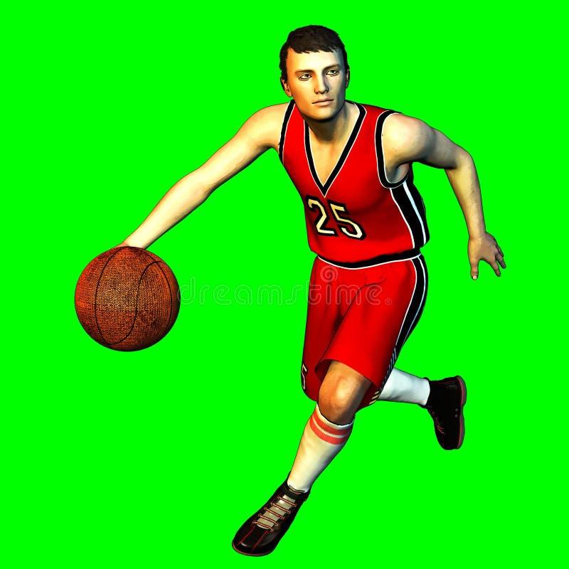 3d übertragen auf Grün des männlichen Basketball-Spielers vektor abbildung