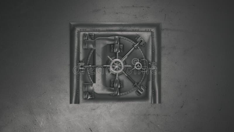 3d übertragen Banktresor und öffnendes Safe lizenzfreie abbildung