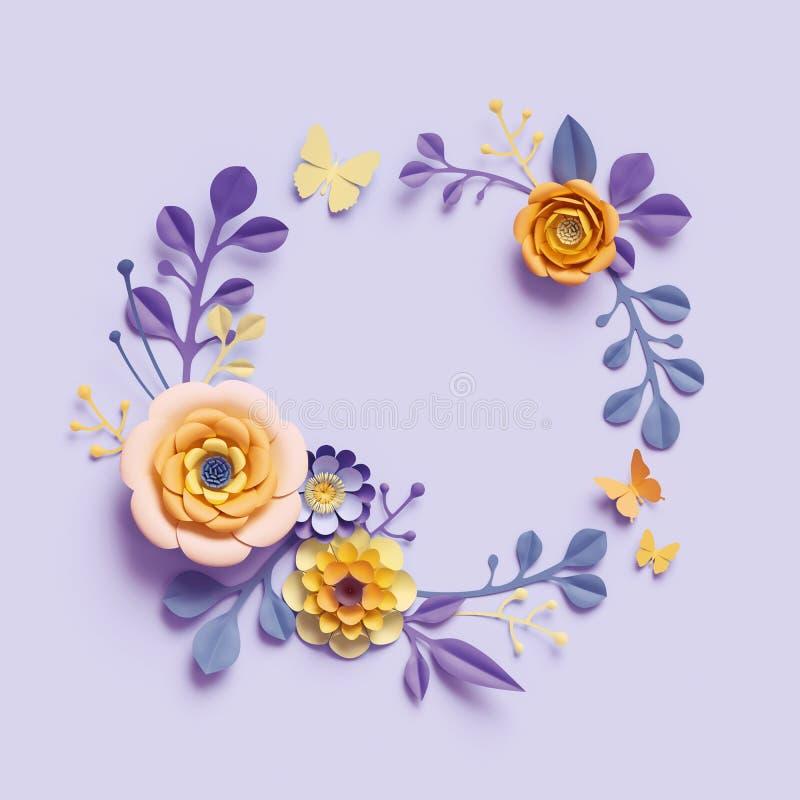 3d übertragen, botanischer Hintergrund, runder Blumenkranz, violette gelbe Kraftpapierblumen, festliche Anordnung, Leerstelle, R lizenzfreie abbildung