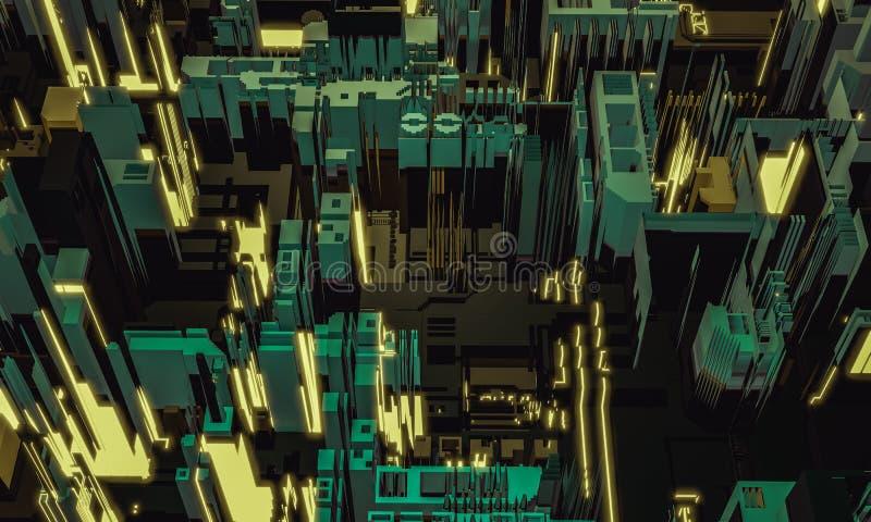 3d übertragen digitales abstraktes Retro- Farbgebäude-Architekturfragment Cyberstadt Leiterplatte PWB-Technologiewiederholung stockbilder
