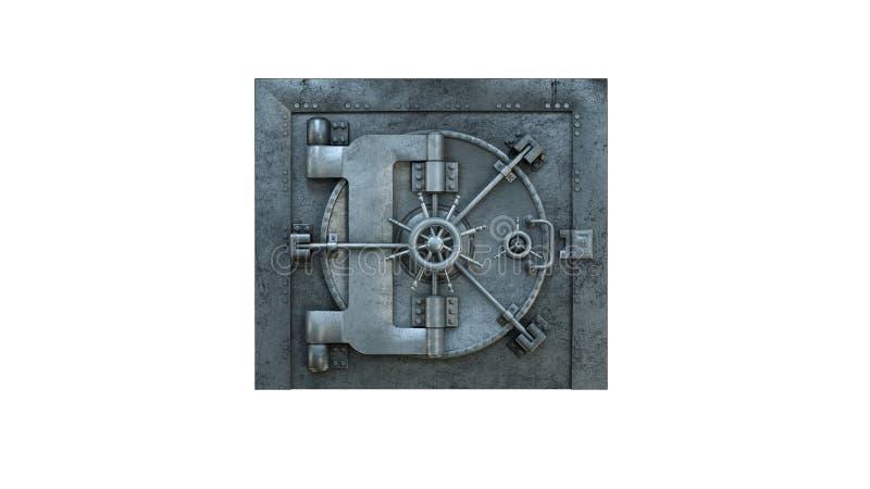 3d übertragen Eröffnung der Tresortür in der Bank auf weißem Hintergrund lizenzfreie abbildung
