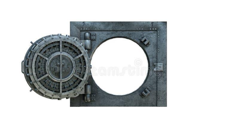 3d übertragen Eröffnung der Tresortür in der Bank auf weißem Hintergrund vektor abbildung