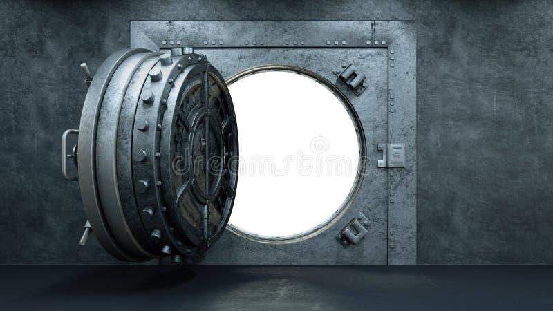 3d übertragen Eröffnung der Tresortür in der Bank stock abbildung