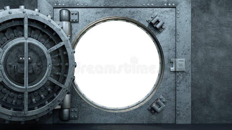 3d übertragen Eröffnung der Tresortür in der Bank vektor abbildung