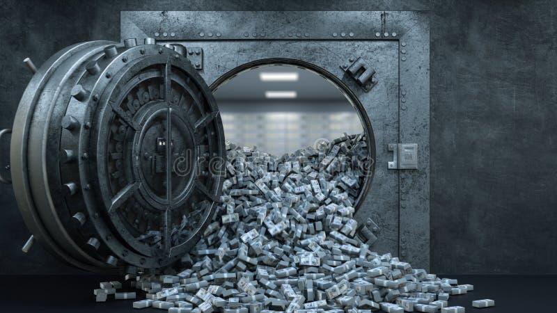 3d übertragen Eröffnung der Tresortür in der Bank mit vielem Geld lizenzfreie abbildung