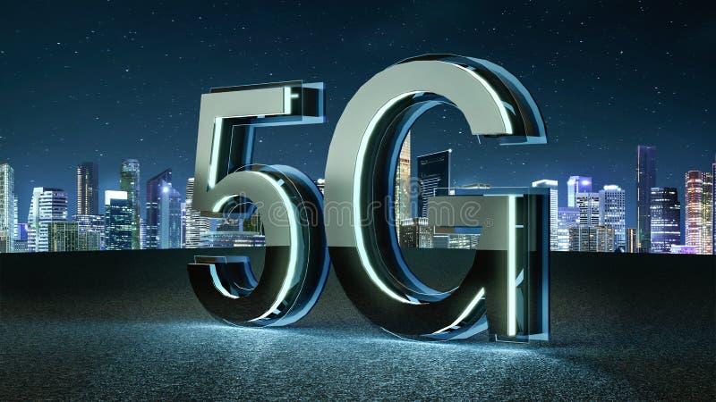 3D übertragen futuristischen Guss 5G mit blauem Neonlicht lizenzfreie abbildung