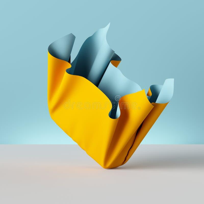 3d übertragen, gefalteter Stoff, das gelbe Drapierung, das auf blauem Hintergrund, Gewebe, Gewebe, Vorhang, abstrakte Modetapete  stock abbildung