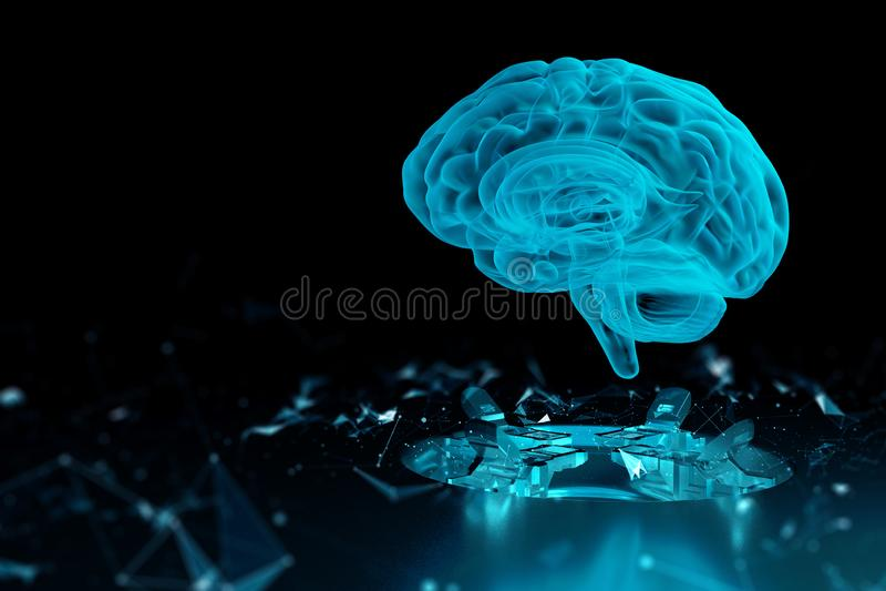 3d übertragen Gehirntechnologiehologramm lizenzfreie abbildung