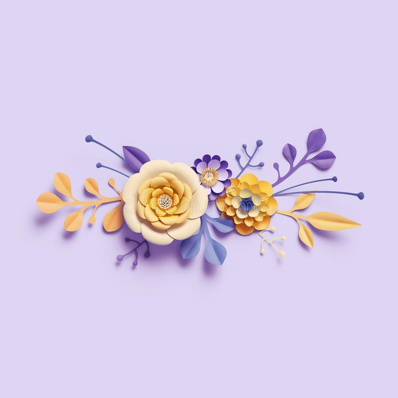 3d übertragen, gelbe Papierblumen auf violettem Hintergrund, Blumenstrauß, horizontale Grenze, Handwerkselemente, botanische An stock abbildung