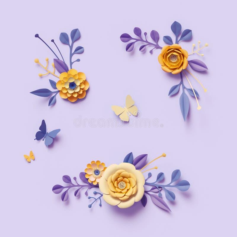 3d übertragen, gelbe Papierblumen auf violettem Hintergrund, festlicher Blumenstrauß, Clipartsatz, botanische Anordnung, Gestal stock abbildung
