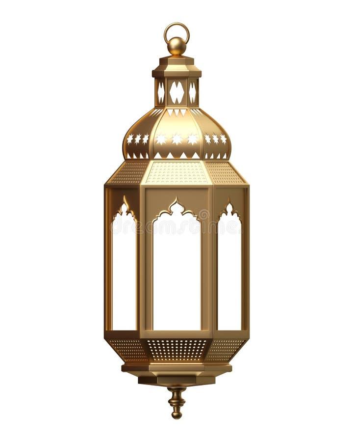 3d übertragen, goldene Laterne, magische Lampe, Stammes- arabische Dekoration, Arabeskenentwurf, Ramadan Kareem, lokalisierter Ge vektor abbildung