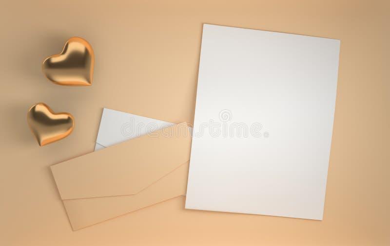 3d übertragen Hintergrund mit goldenen glatten Herzen und Umschlag des beige und Weißbuches Heilig-Valentinstag am 14. Februar, l stock abbildung
