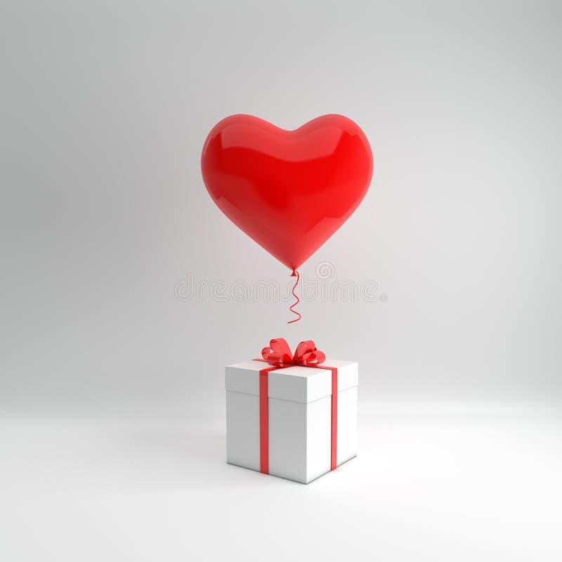 3d übertragen Illustration des realistischen roten glatten Herzballons und der weißen Geschenkbox mit Bogen auf weißem Hintergrun lizenzfreie abbildung