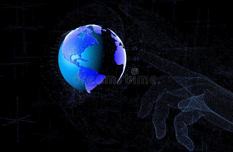 3D übertragen Indexneonpunkte, die Finger oben auf dem Erdplaneten im Raum zeigt stock abbildung