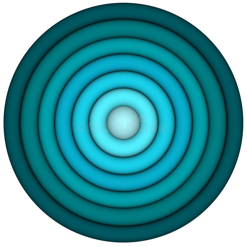3d übertragen konzentrische Rohre im mehrfachen Blau stock abbildung