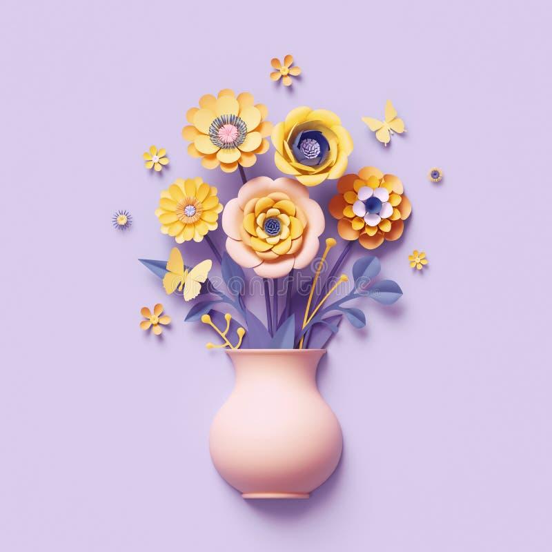 3d übertragen, Kraftpapierblumen innerhalb des Vase, gelber Blumenstrauß, botanische Anordnung, helle Süßigkeitsfarben, Natur vektor abbildung