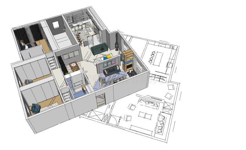 3d übertragen modernen Wohnung nad-Plan lizenzfreie abbildung