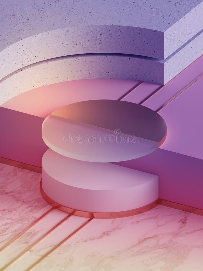 3d übertragen, moderner abstrakter geometrischer Hintergrund, minimalistic Neonmodell, ursprüngliche Formen, Schaufenster, ultrav lizenzfreies stockfoto