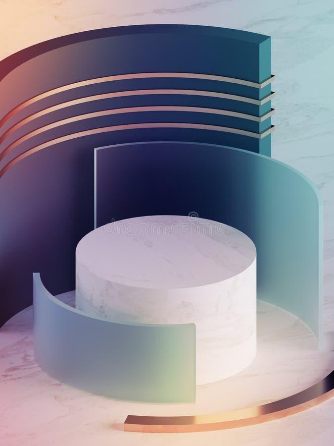 3d übertragen, moderner abstrakter geometrischer Hintergrund, minimalistic Neonmodell, ursprüngliche Formen, Schaufenster, ultrav lizenzfreie stockfotos