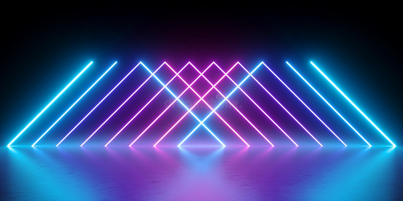 3d übertragen, Neonlichter, abstrakter Hintergrund, glühende Linien, virtuelle Realität, violette Dreiecke, ultraviolettes, Infra stock abbildung