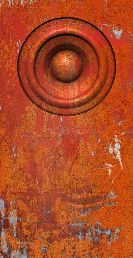 3d übertragen orange alte Sprechertonanlage der Grunge vektor abbildung