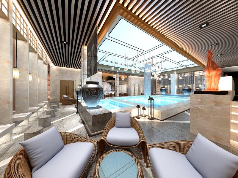 3d übertragen Poolbadekurortplatz lizenzfreie abbildung
